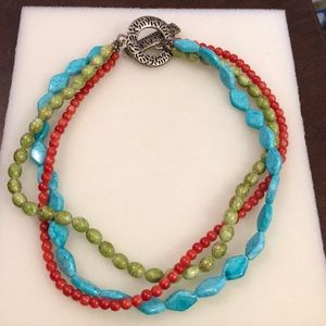 Turquoise green and red Necklace